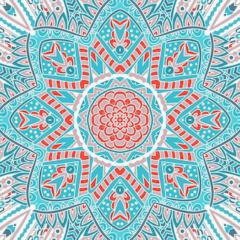 円形の装飾品のシームレスな装飾パターン。ドイリーレースの丸い飾り。青い冬の背景