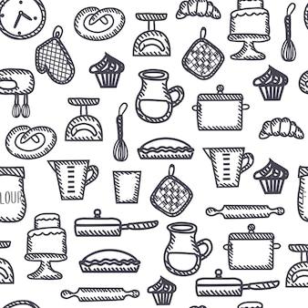 面白い調理ツールと要素セットのイラストのシームレスなアウトライン白黒パターン