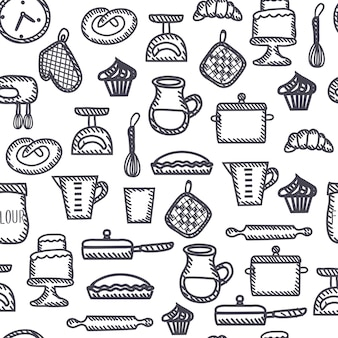 Seamless  outline black and white pattern of illustration of funny cooking tools and elements set