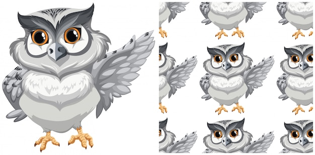 Seamless owl pattern isolated on white