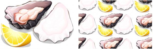 Бесшовные устрицы и лимон на белом