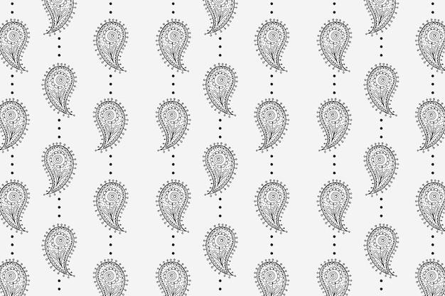 원활한 페이즐리 패턴 배경, 흑백 그림 벡터