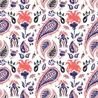 Seamless paisley pattern in a lavander colors