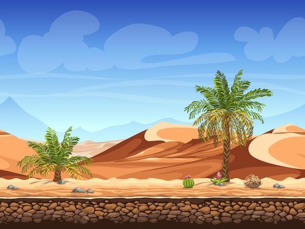 シームレス-砂漠のヤシの木