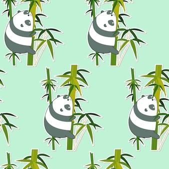 Seamless panda on bamboo pattern.