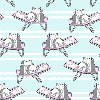 Seamless panda and cats on the cradle pattern.