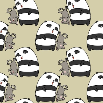 Seamless panda is catching cat pattern.