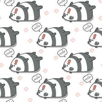 Бесшовные панда ленивый узор.