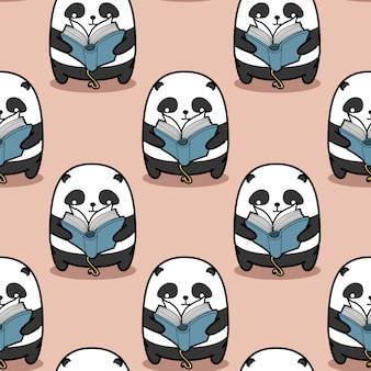 Seamless panda is reading book pattern.