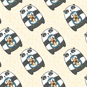 Seamless panda penguin and dog pattern.