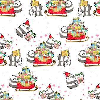 クリスマスの日のパターンでシームレスなパンダとギフト