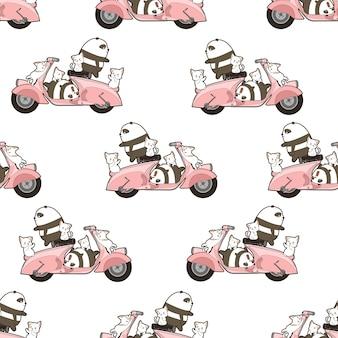 Seamless pandas and cats with motorbike pattern.