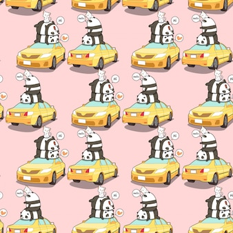 Seamless pandas and cats on the  yellow car pattern