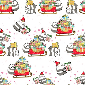 Seamless pandas and gifts in christmas day pattern