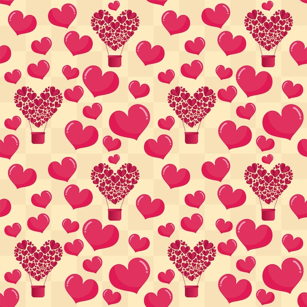Seamless paper cut hearts with parachute pattern decorated on beige grid background.