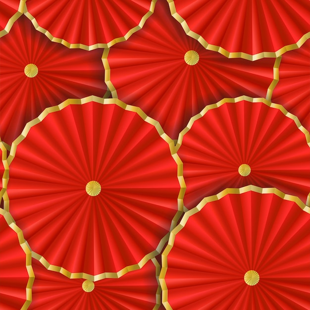 Seamless paper with japanese and chinese umbrellas paper flowers