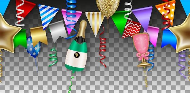 Бесшовная вечеринка с разноцветными воздушными шарами, растяжками и вымпелами