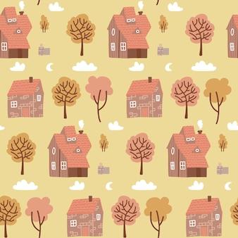 家と黄色の木とのシームレスなパステルカラーのカラフルなパターン。子供の生地、テキスタイル、保育園の壁紙のための秋の田舎の落書きの背景。繰り返される村のフラットベクトル図