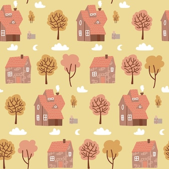 Seamless pastel colorful pattern with houses and yellow trees. autumn countryside doodle backdrop for kids fabric, textile, nursery wallpaper. repeated village flat vector illustration