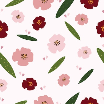 シームレスなパステル調の花の表面パターンの背景