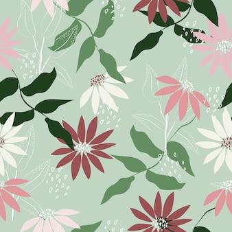 Бесшовные пастельные цветы узор зимний фон