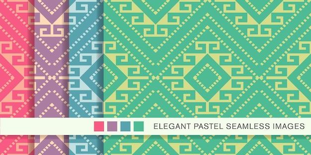 원활한 파스텔 패턴 체크 다이아몬드 나선형 크로스 프레임 도트 라인