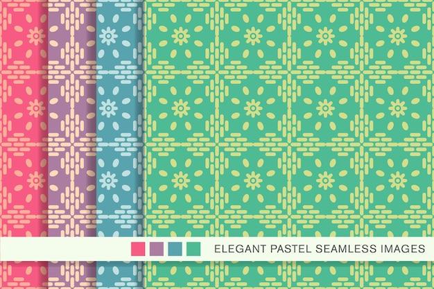 원활한 파스텔 패턴 크로스 프레임 라인 꽃