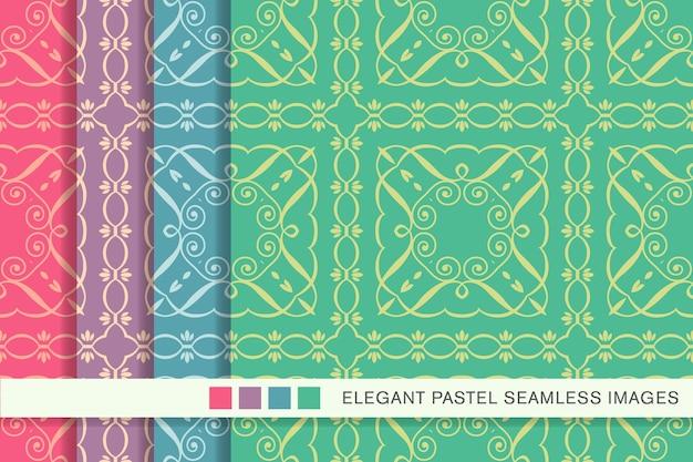 Seamless pastel pattern curve spiral square cross frame vine line