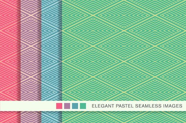 Seamless pastel pattern diamond check cross vortex frame line