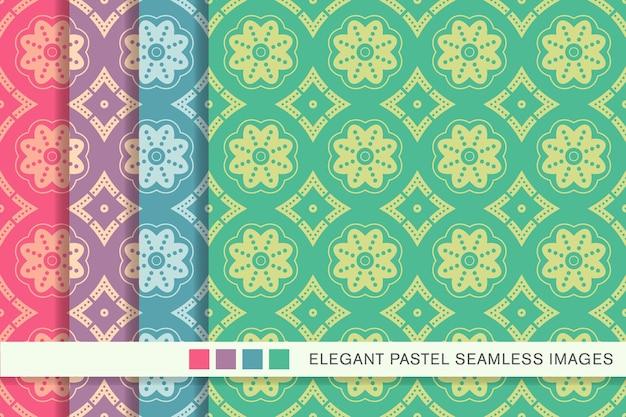 원활한 파스텔 패턴 도트 라인 꽃 프레임