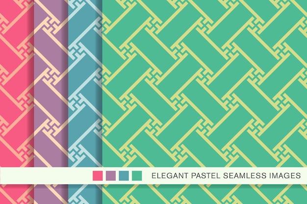 Seamless pastel pattern polygon spiral vortex cross tracery frame