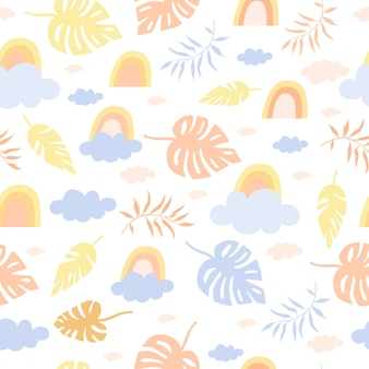 Seamless pastel pattern rainbow and palms