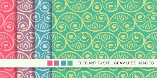 원활한 파스텔 패턴 나선형 소용돌이 팬 잎 프레임 포도 나무