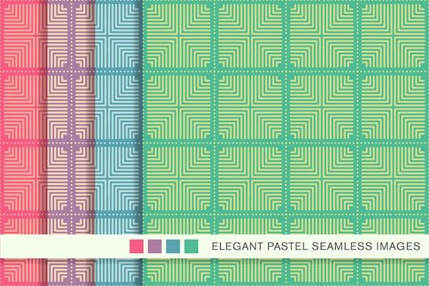 원활한 파스텔 패턴 스퀘어 체크 크로스 도트 라인