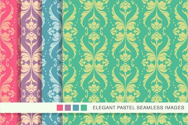 원활한 파스텔 패턴 웨이브 크로스 도트 라인 잎 꽃
