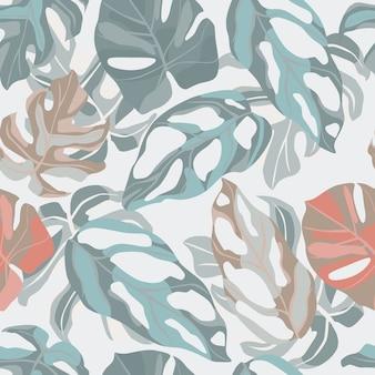 モンステラリーフ飾りとシームレスなパステルソフト植物パターン。