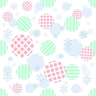 ストライプの背景に幾何学的および雪片パターンを持つシームレスなパステルストライプドット