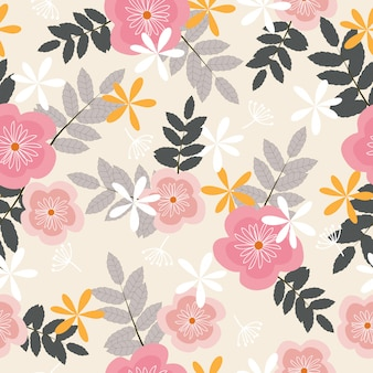Seamless pastel tropical floral pattern