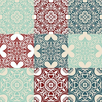 Seamless patchwork pattern from dark blue and white moroccan tiles ornaments