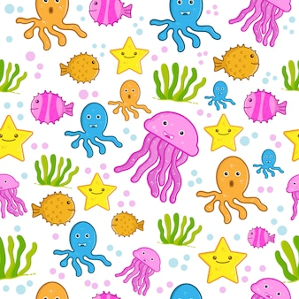 Seamless patten sea animals fish wallpaper