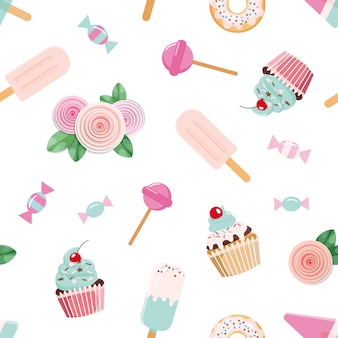 Seamless pattent with flowers and cupcakes