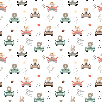 Seamless patter of cute animals driving a cars in the white backdrop