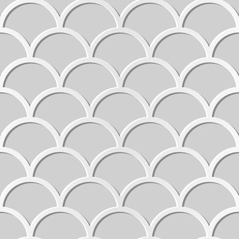 Seamless pattern 3d paper art chinese scale curve round cross frame
