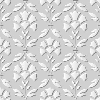 Seamless pattern 3d paper art curve cross leaf flower