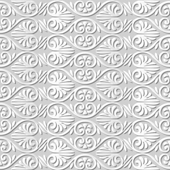 Бесшовный узор 3d бумага искусство кривая спираль веер форма цветок
