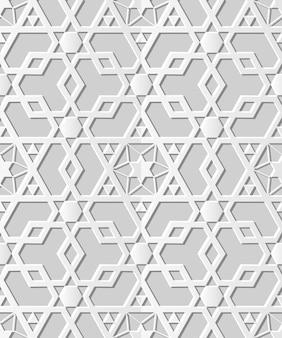 Бесшовные модели 3d бумага искусство исламская геометрия крест многоугольник звезда