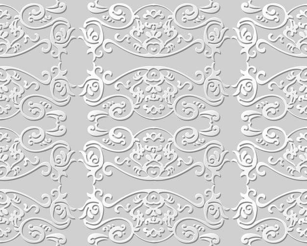 Бесшовные модели 3d бумага искусство шаблон кривая спираль перо крест