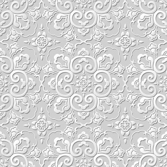 Seamless pattern 3d paper art pattern round curve cross flower