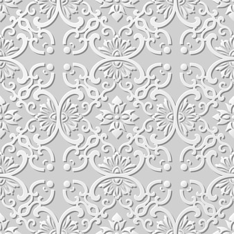 Seamless pattern 3d paper art pattern round curve cross frame flower