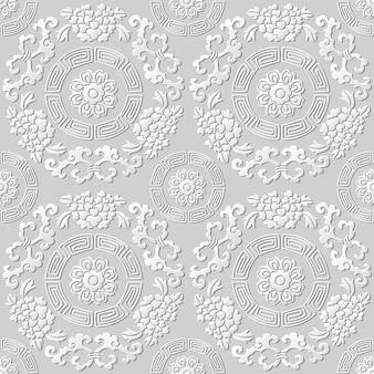 원활한 패턴 3d 종이 아트 패턴 라운드 나선형 프레임 꽃 덩굴